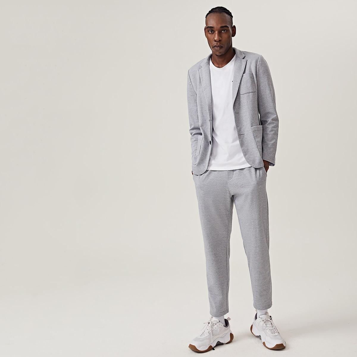 Мужские однотонные брюки и пиджак с карманом