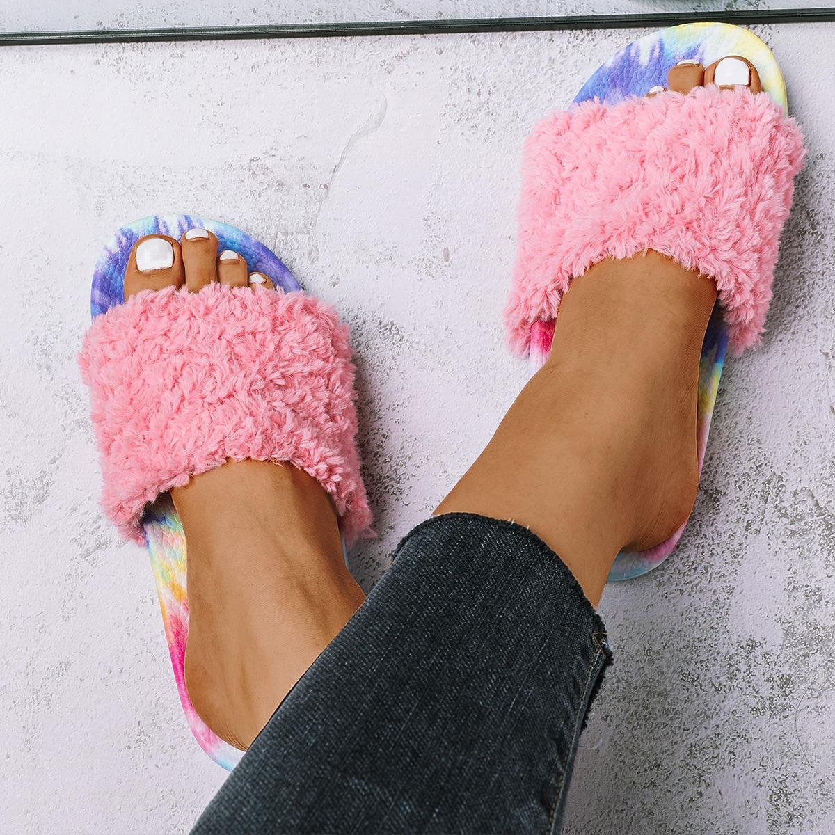 shein Pluizige pantoffels met open teen