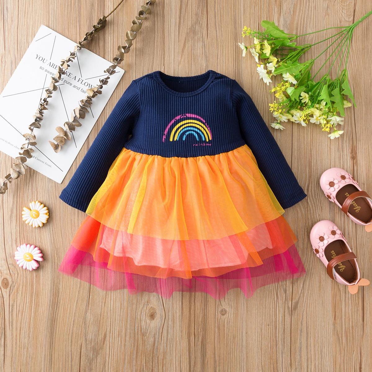 shein Schattig Spotprent Baby-jurk Rimpeling