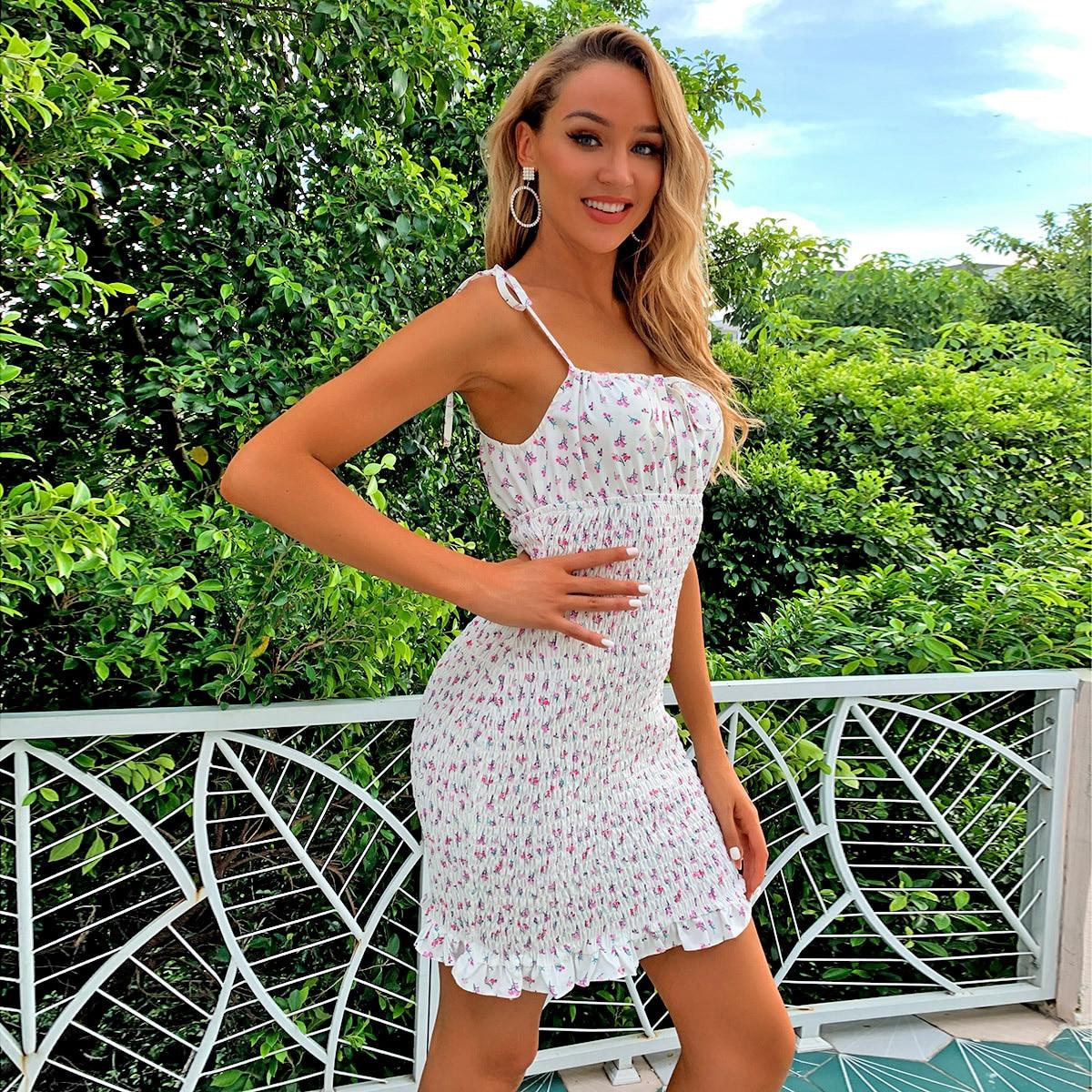 SHEIN / Kleid mit Gänseblümchen Muster und Knoten auf Schulter