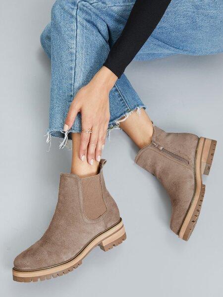 Vegan Suede Low Block Heel Chelsea Boots
