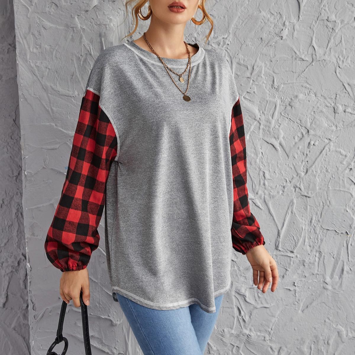 SHEIN / Drop Shoulder Buffalo Plaid Sleeve Pullover