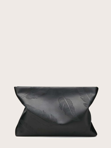 Feather Embossed Clutch Bag