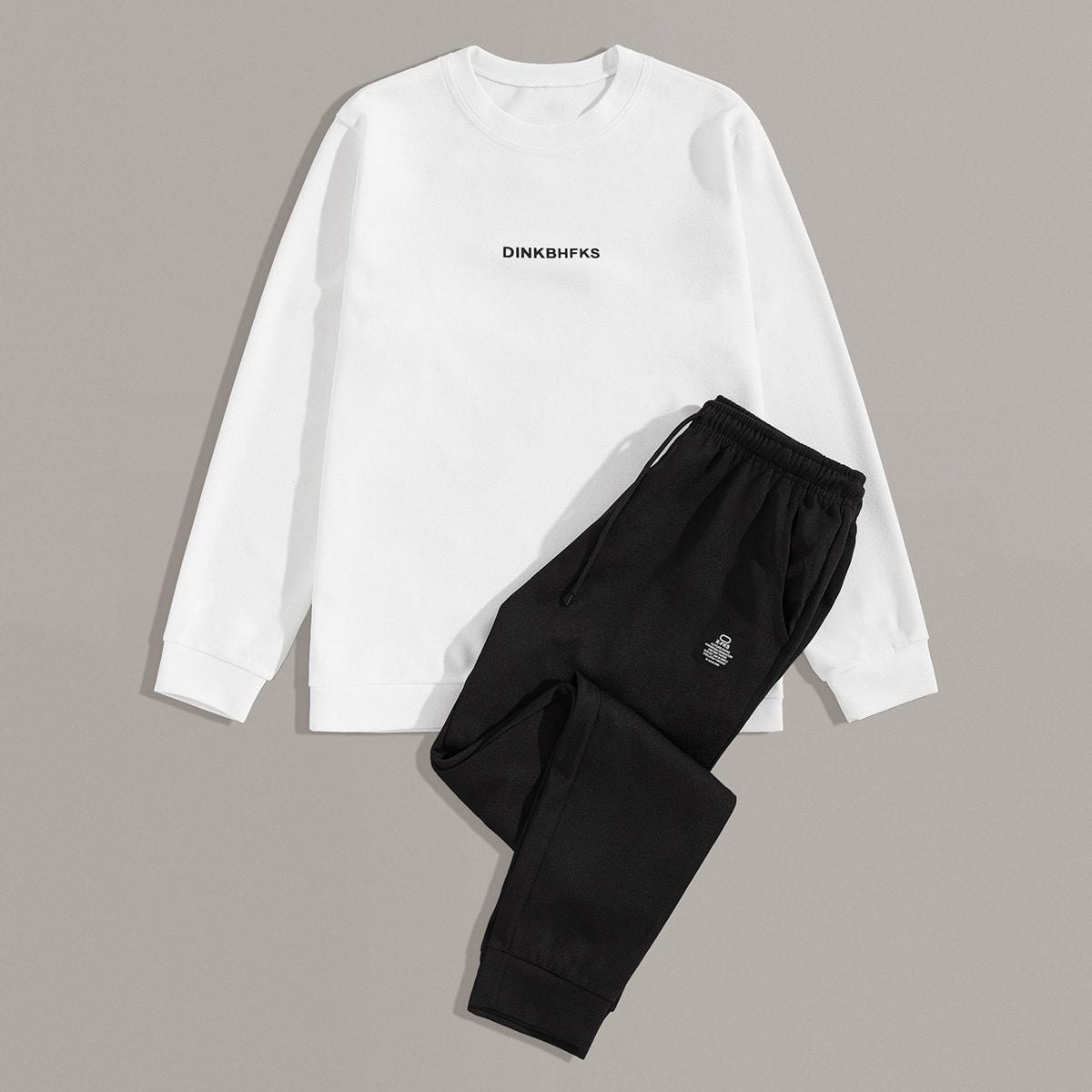 Мужские брюки и свитшот с текстовым принтом от SHEIN