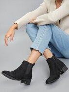 Faux Nubuck Block Heel Chelsea Boots