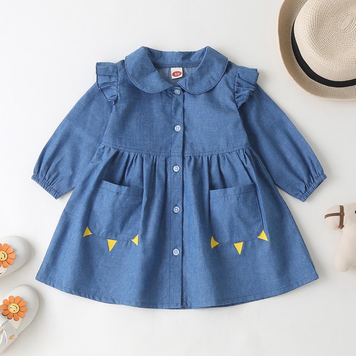 Джинсовое платье с пуговицами и оборкой для девочек от SHEIN