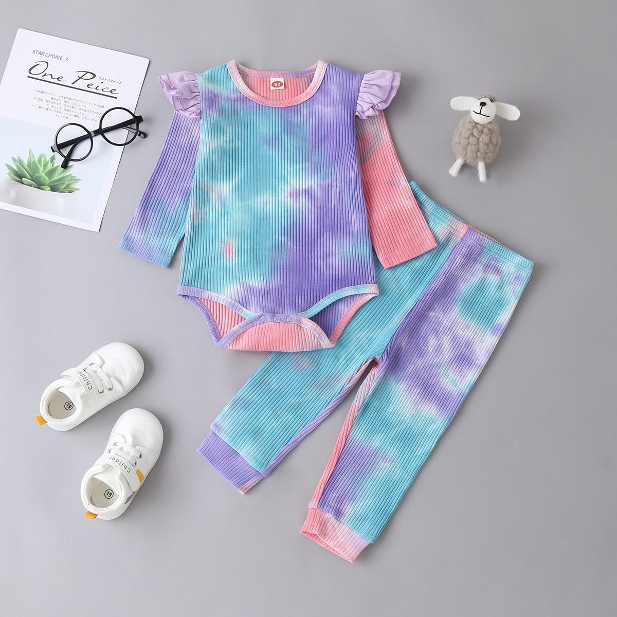 shein Casual Tie dye Baby-setjes Rimpeling