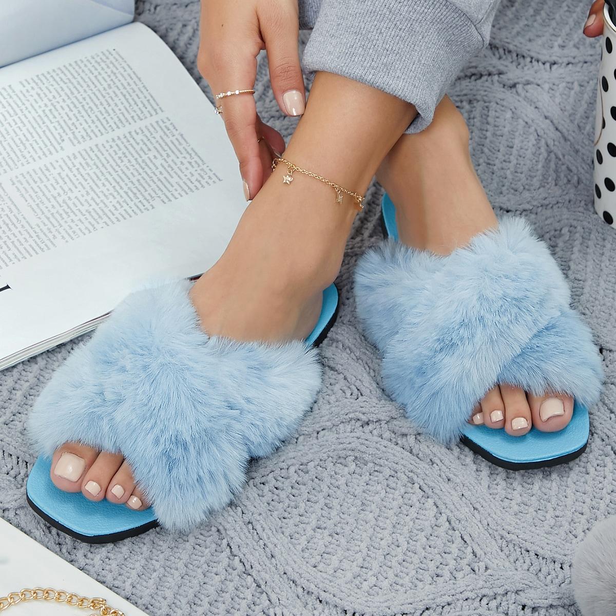 SHEIN / Marble Crisscross Vean Fur Sandals