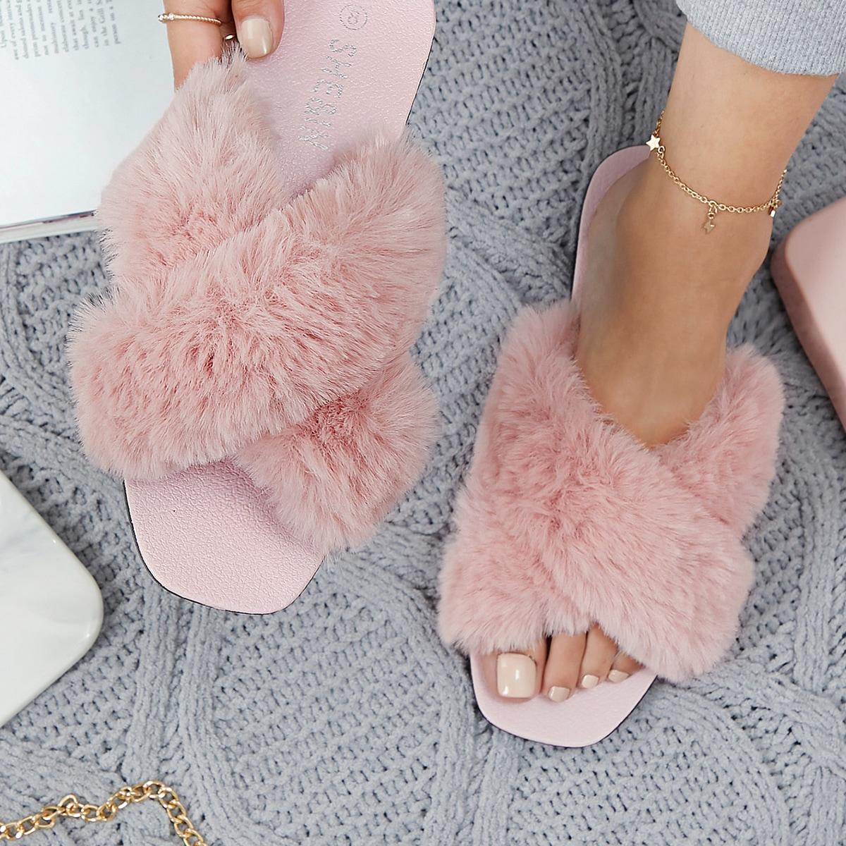 SHEIN / Faux Fur Square Toe Crisscross Sandals
