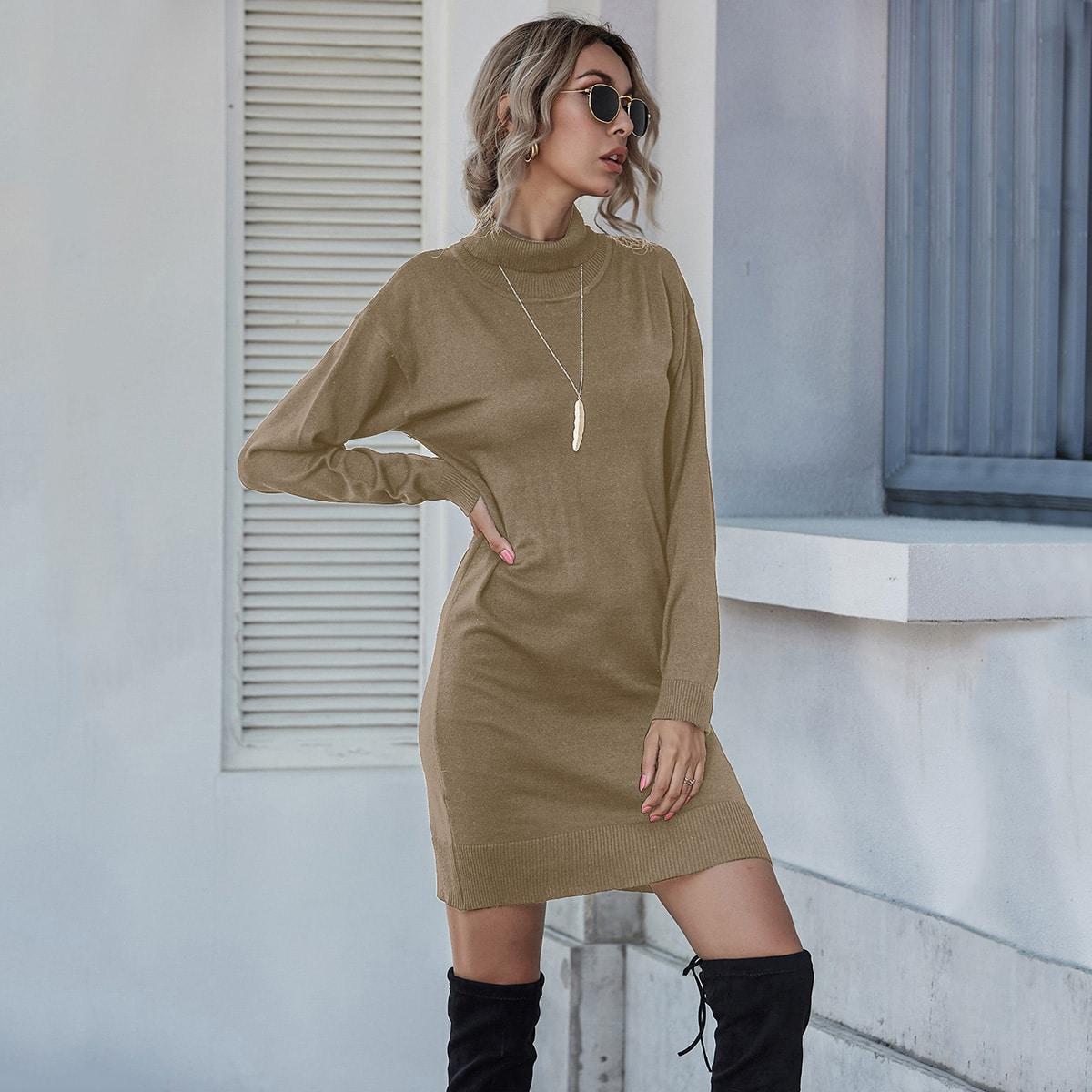 shein Casual Vlak Gebreide jurk
