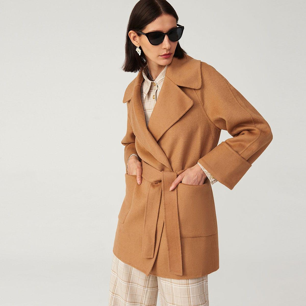 Raglan Sleeve Patch Pocket Belted Overcoat