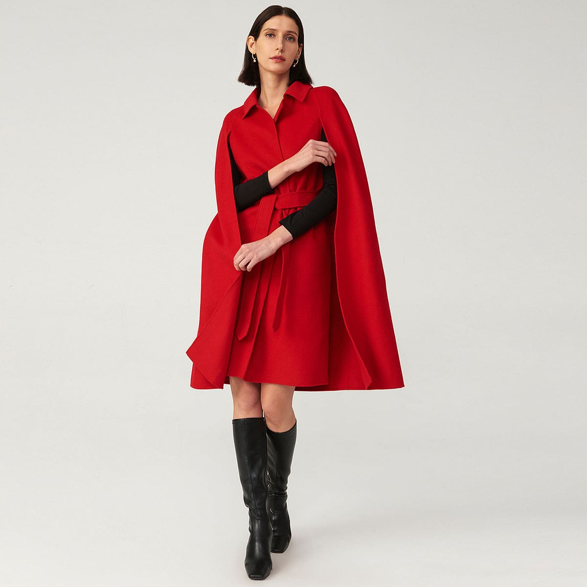 Self Belted Solid Cape Coat