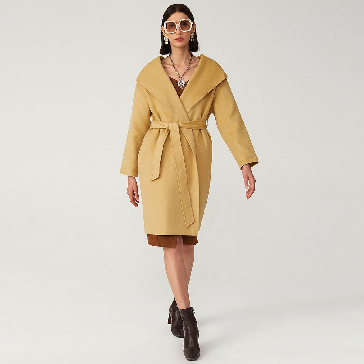WOOL-MIX BELTED HOODED OVERCOAT