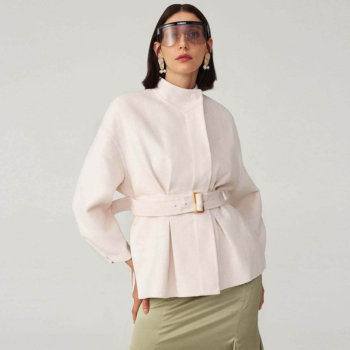 WOOL-BLEND BELTED PLEATED DETAIL OVERCOAT