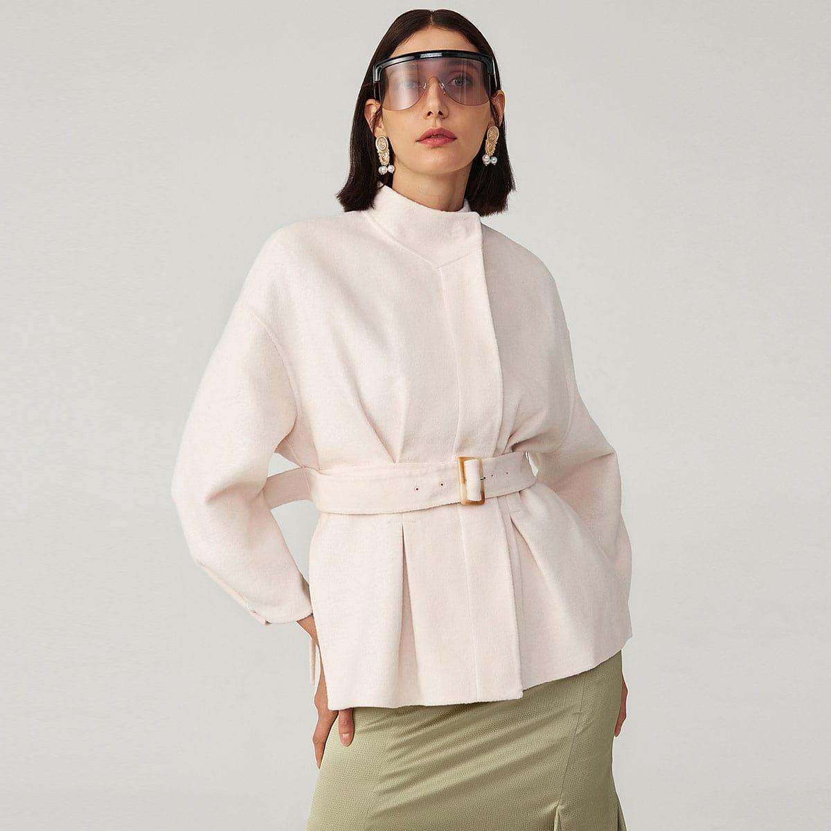 Split Hem Belted Overcoat