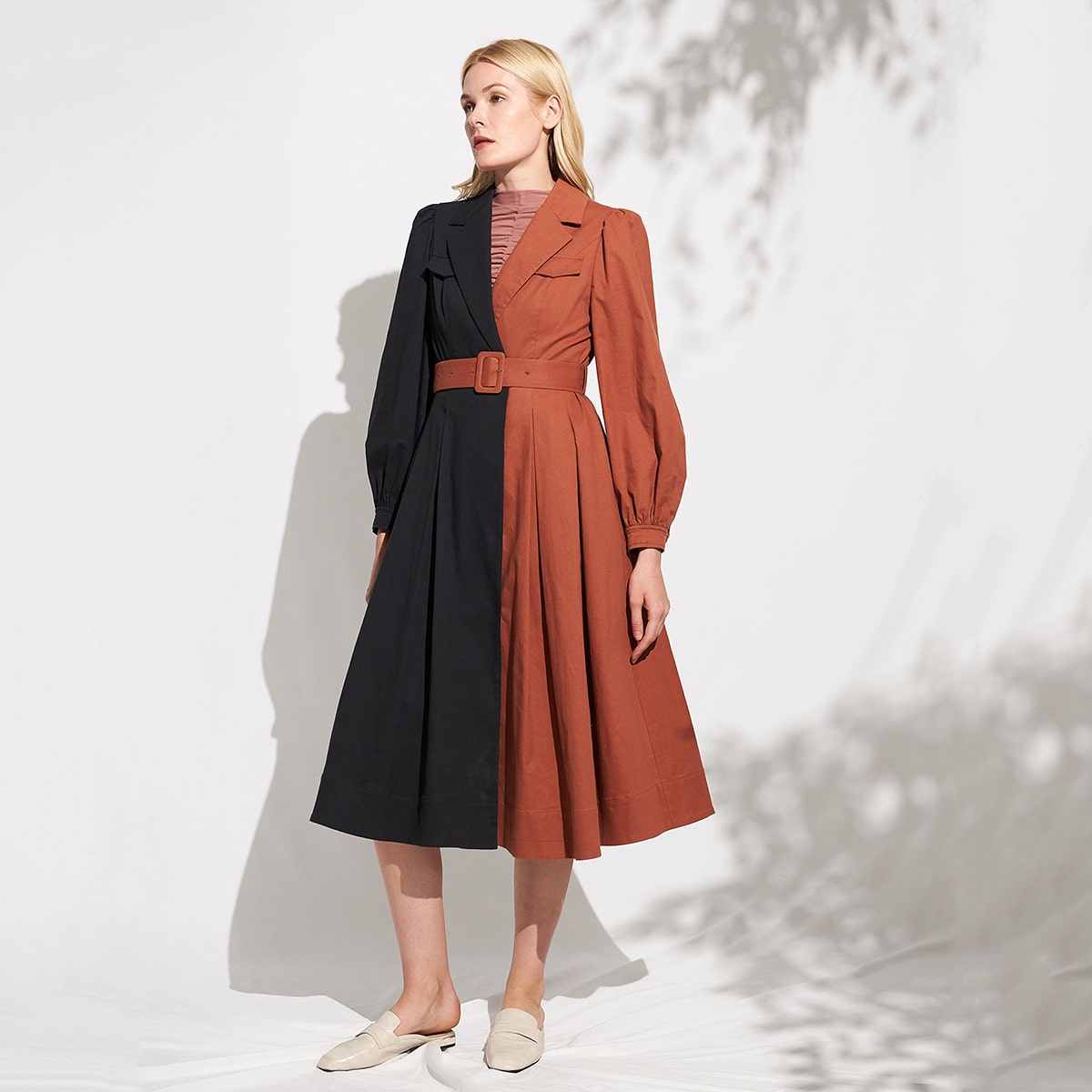 COTTON-BLEND BELTED TWO TONE TRENCH COAT