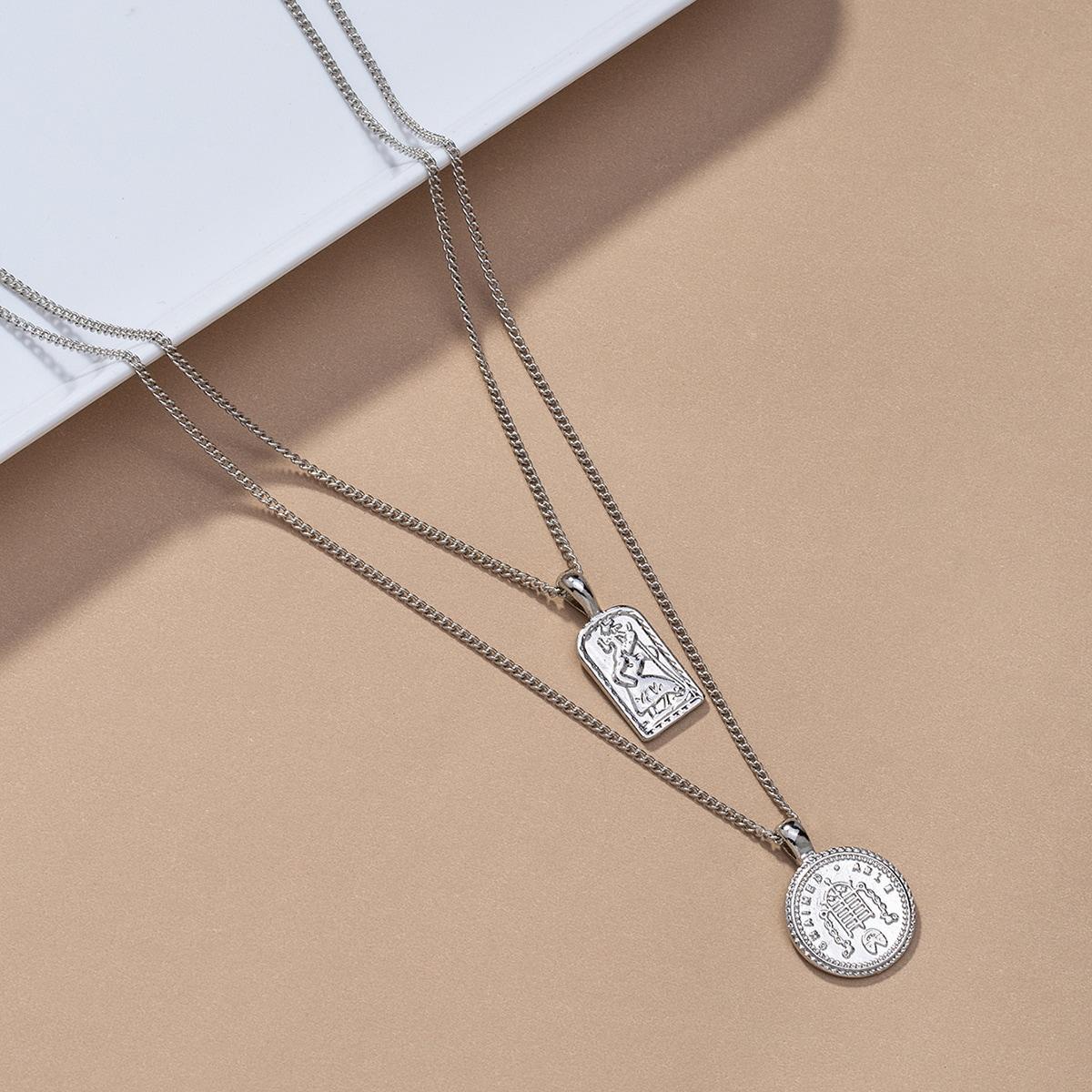 Мужское многослойное ожерелье с круглым декором от SHEIN