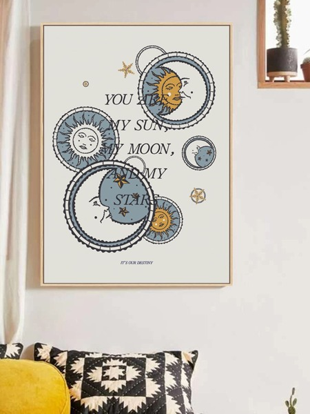 Sun & Moon Print Wall Painting Without Frame