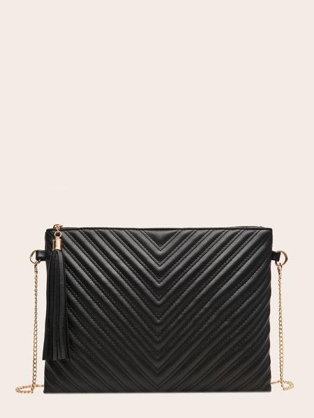 Tassel Charm Chevron Clutch Bag