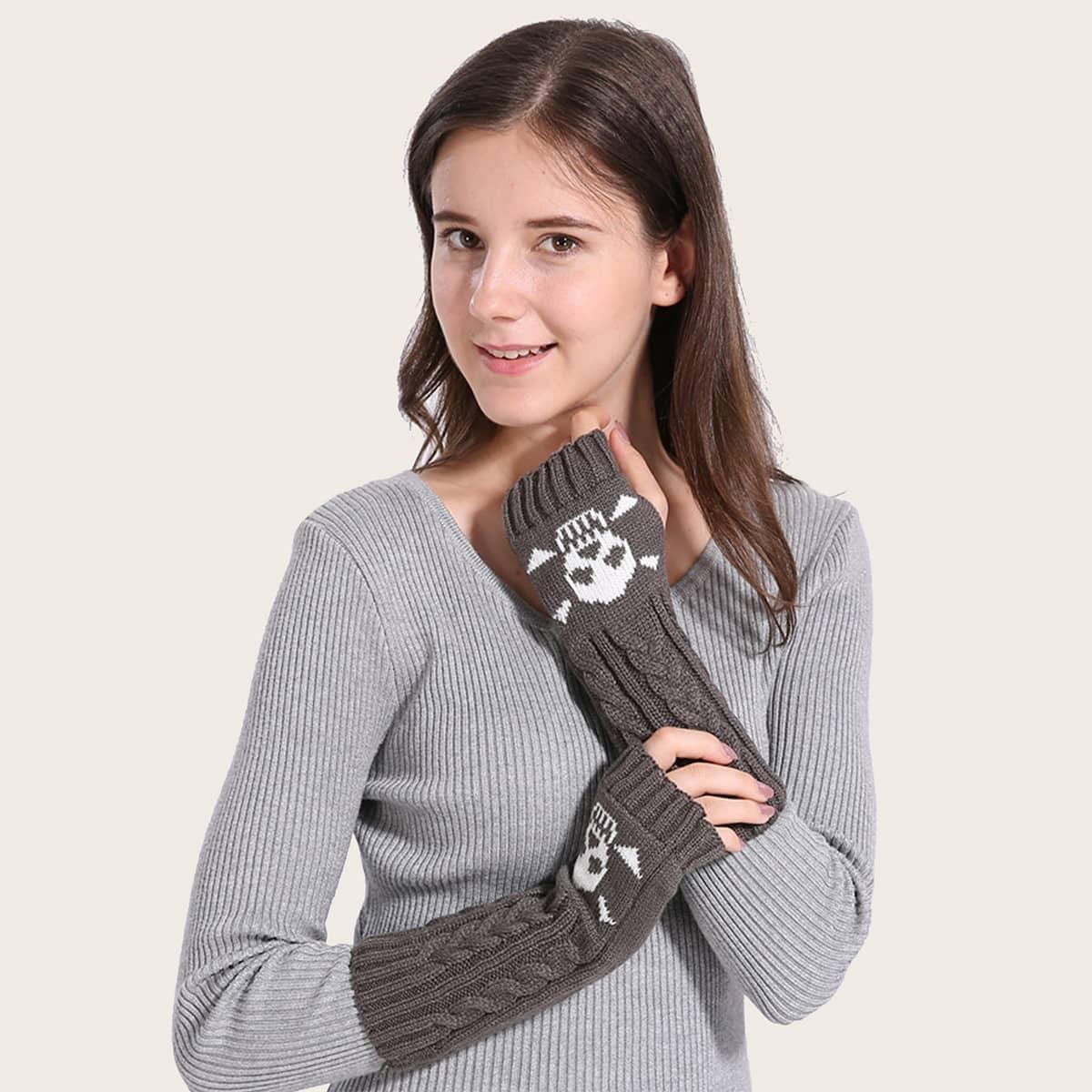 Вязаные перчатки с открытым пальцем с узором черепа от SHEIN