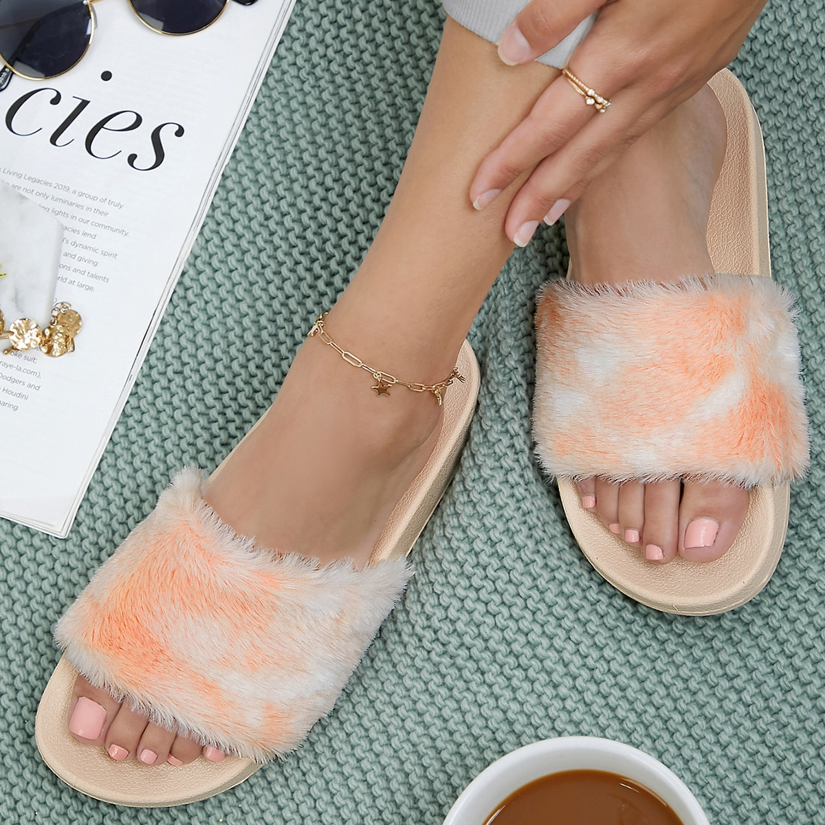 SHEIN / Fuzzy Multicolored Faux Fur Slide Sandals