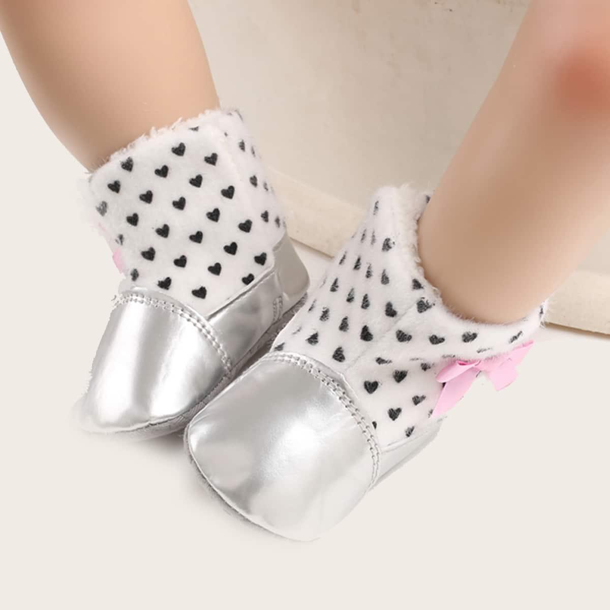 shein Hartvormige laarzen met strik voor baby's
