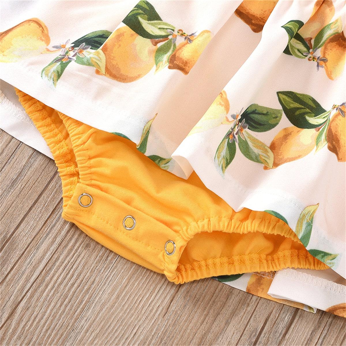 shein Boho Fruit & groenten Baby-jurk Knoop