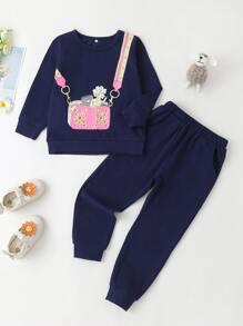 Sweatshirt | Sweatpant | Toddler | Floral | Print | Girl | Bag