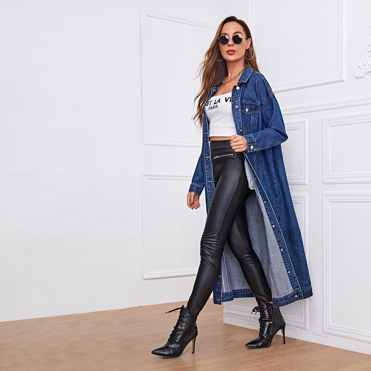 Длинное джинсовое пальто с пуговицами