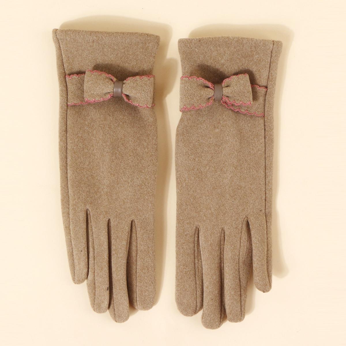 Перчатки для сенсорного экрана с бантом