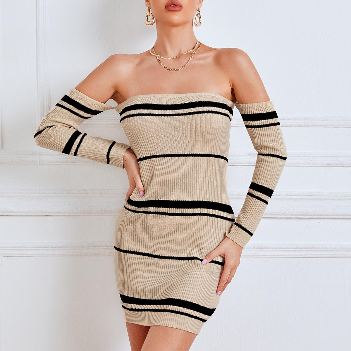 shein Elegant Gestreept Gebreide jurk