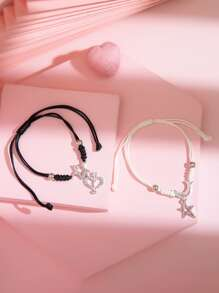 Rhinestone | Bracelet | Charm | Heart | Star | Girl