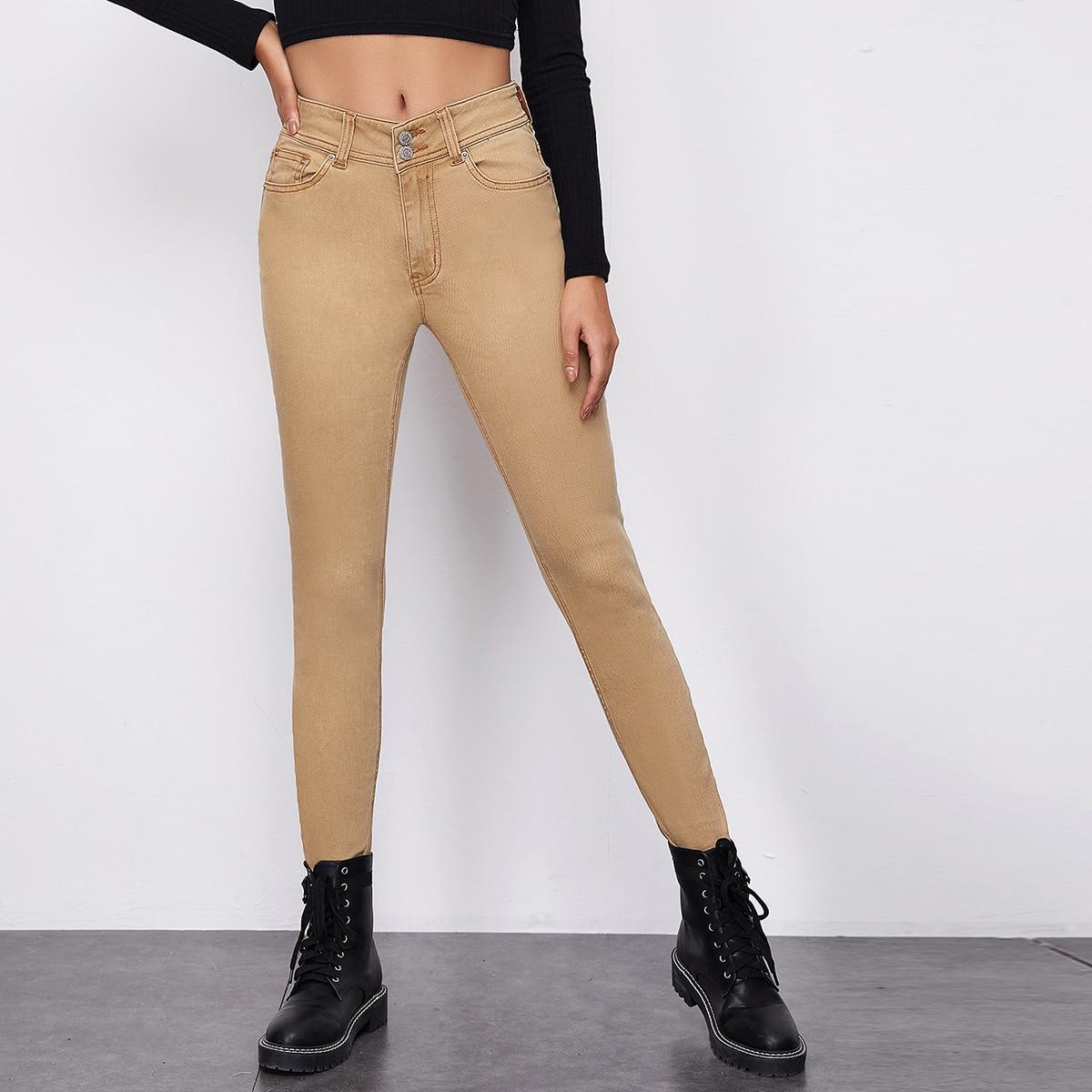 Высокие эластичные джинсы скинни