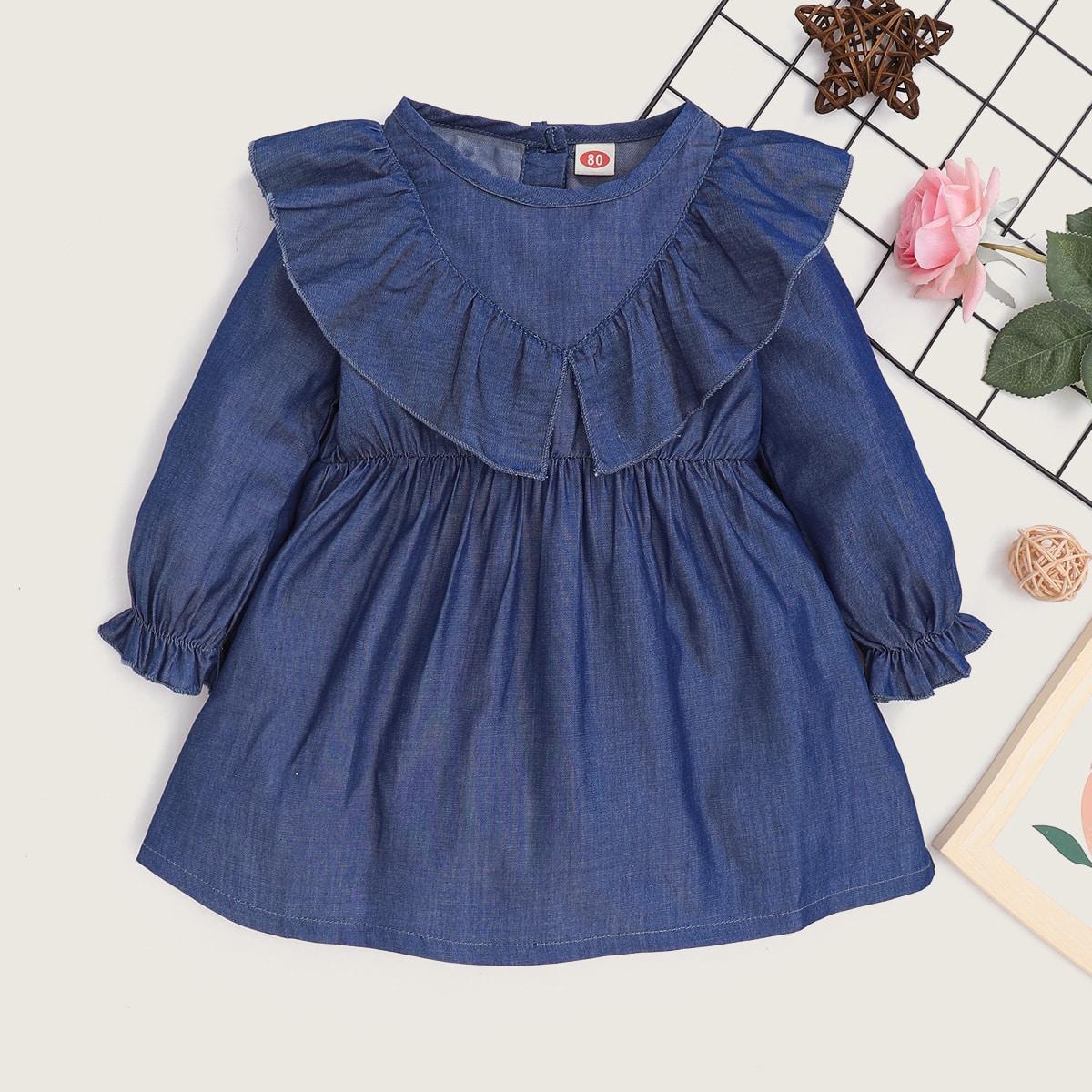 Джинсовое платье с оборкой для девочек от SHEIN