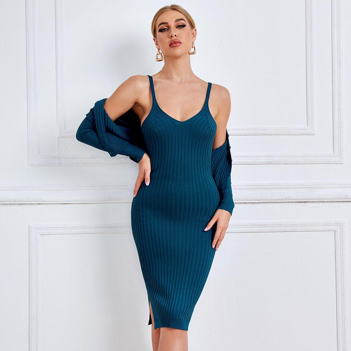 shein Elegant Vlak Gebreide jurk Split