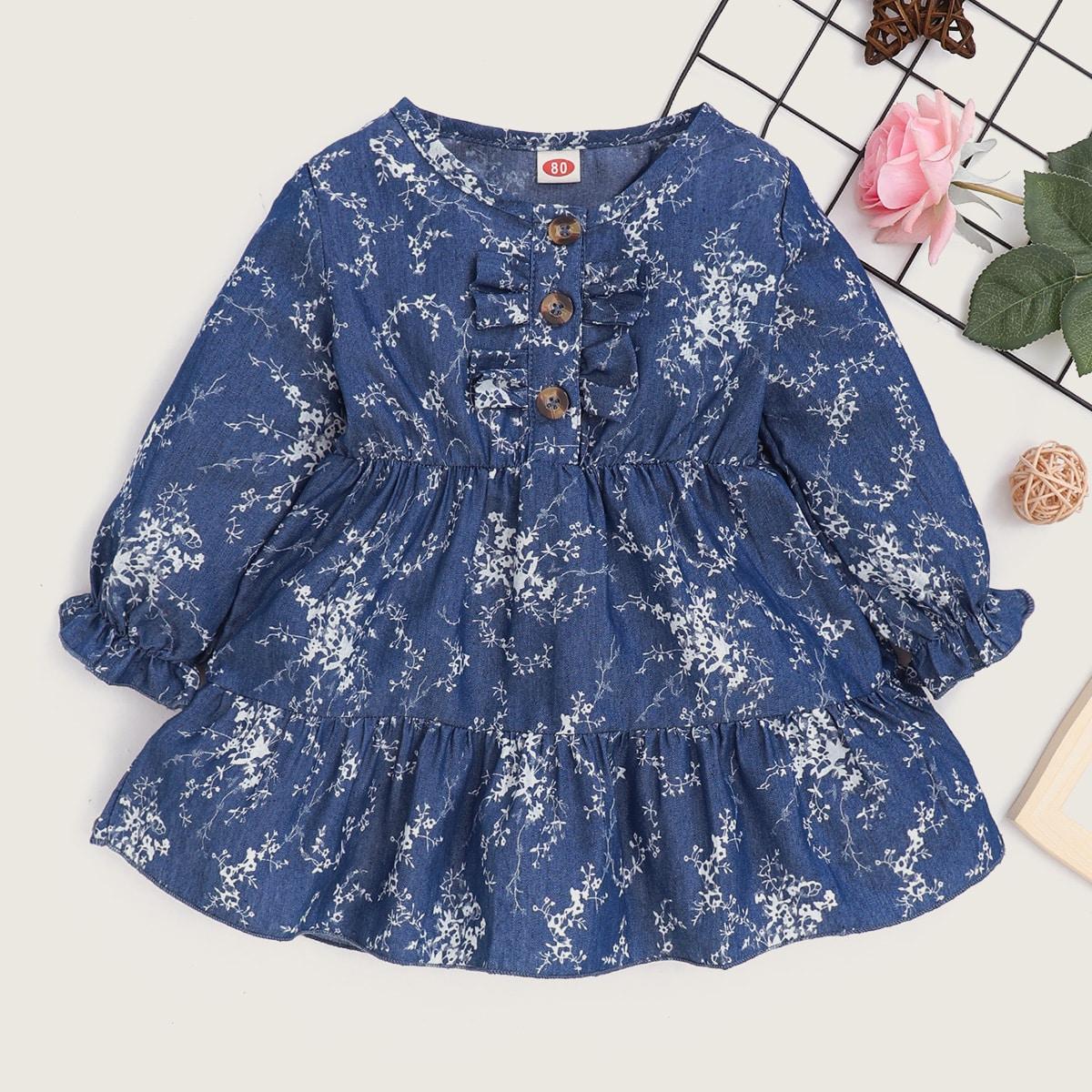 Платье с цветочным принтом для девочек от SHEIN