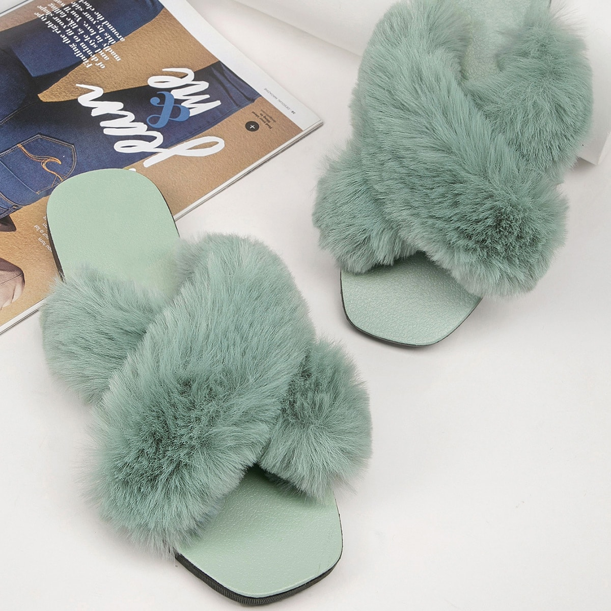 SHEIN / Plush Faux Fur Crisscross Vamp Slide Sandals