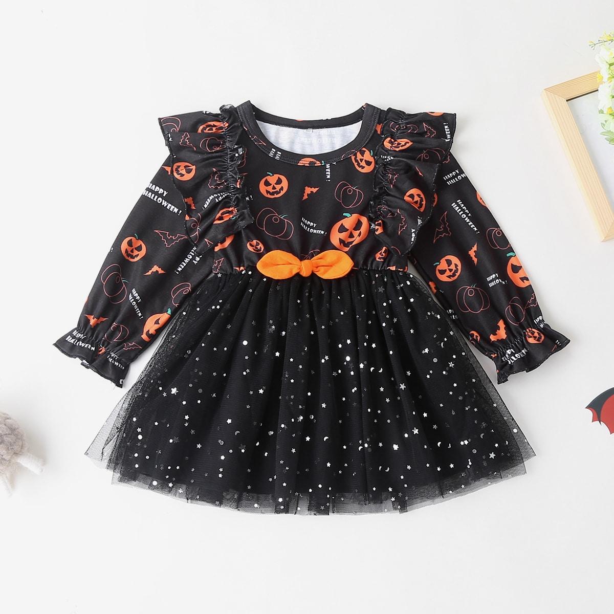 shein Casual Melkweg Baby-jurk Rimpeling