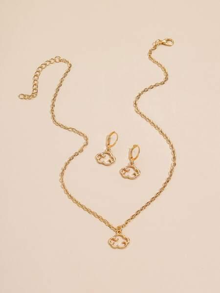 3pcs Gold Cloud Decor Jewelry Set