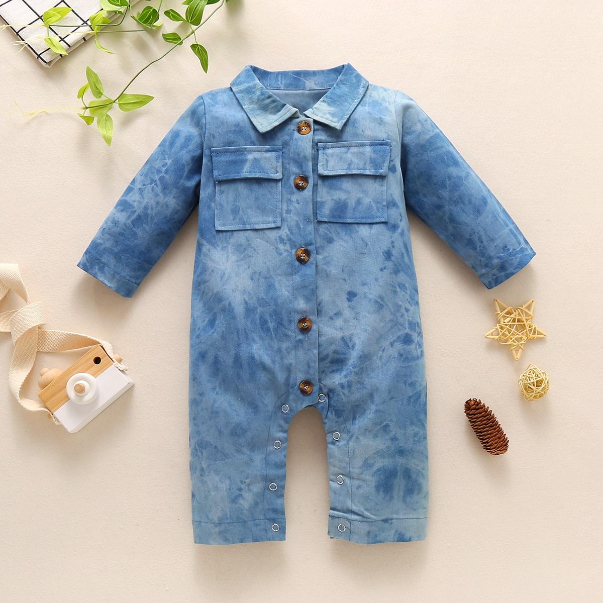 Детский джинсовый комбинезон с пуговицами и карманом от SHEIN