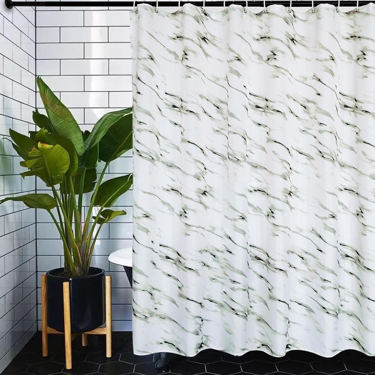 Cortina de ducha con patrón de mármol