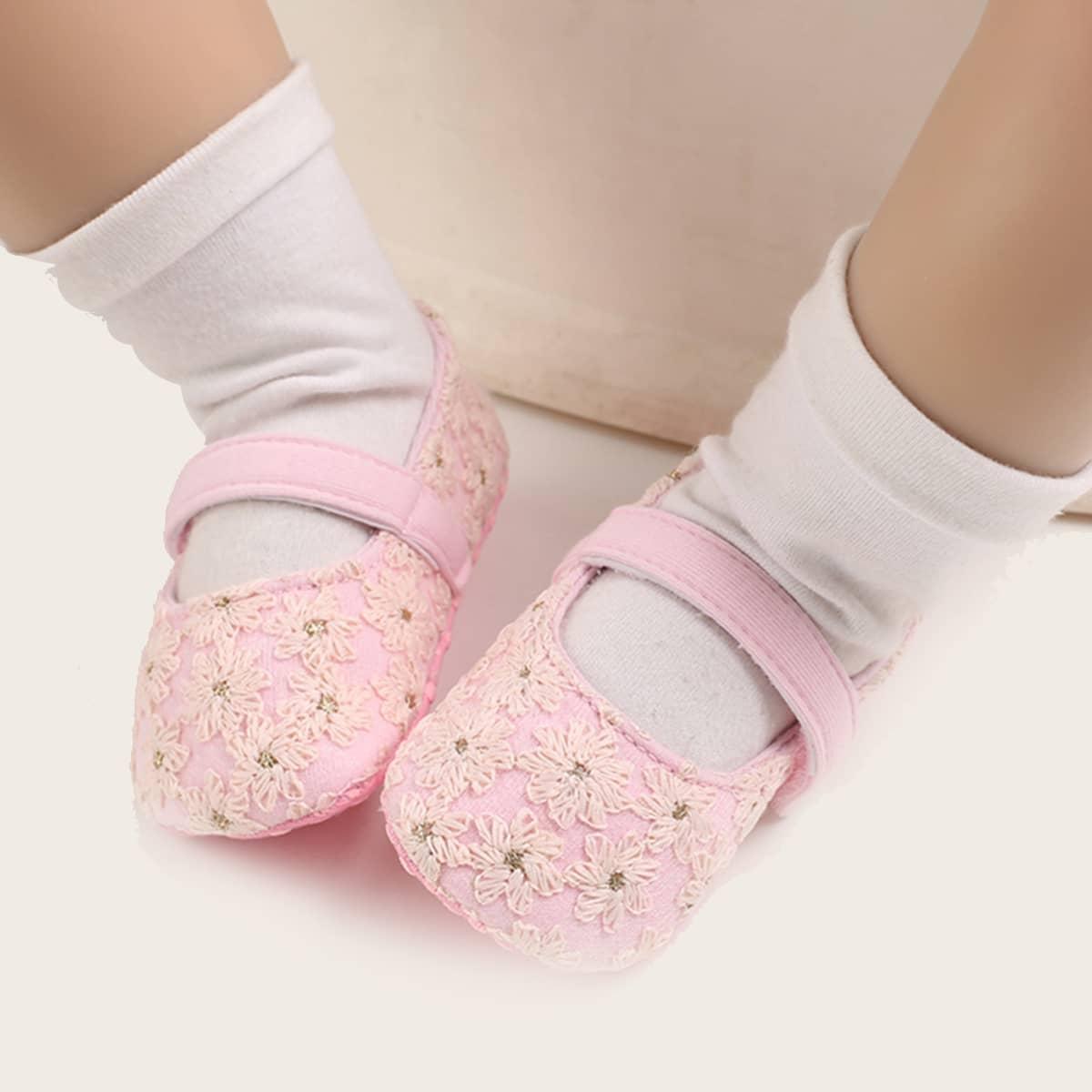 shein Platte schoenen met geborduurd klittenband voor baby's voor meisjes