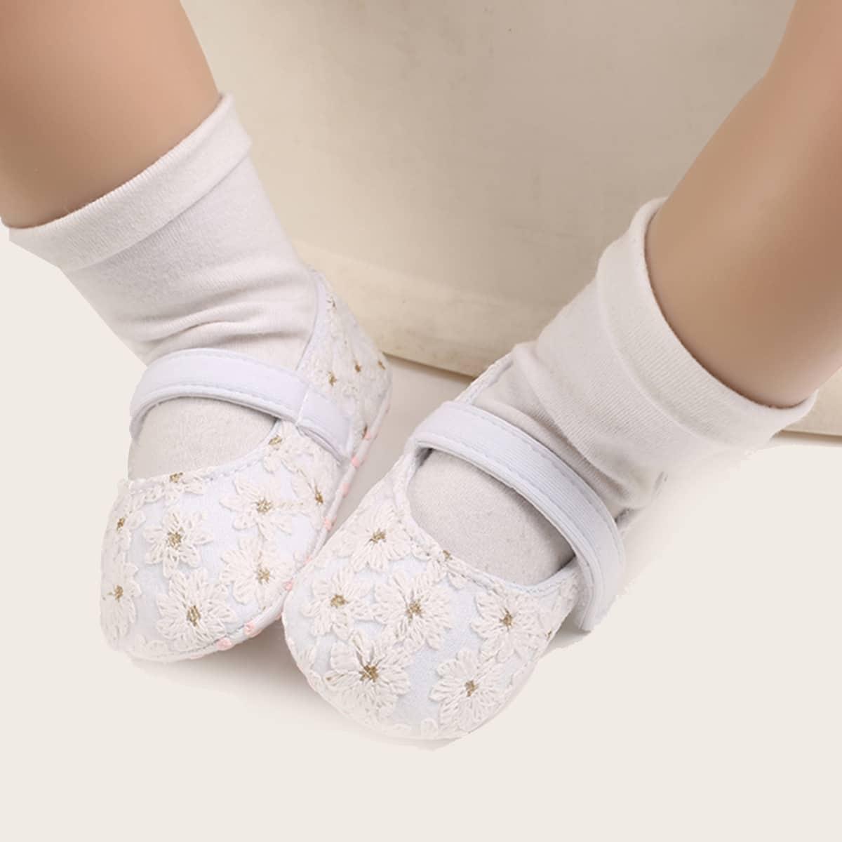 shein Platte schoenen met geborduurde velcro riem voor meisjes