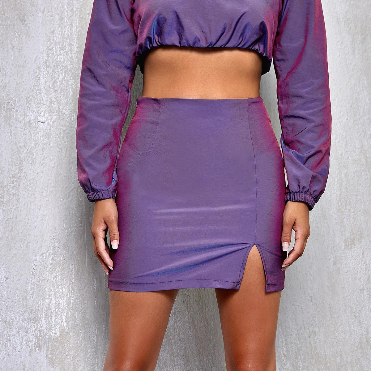 SHEIN / Zipper Side Split Hem Hologram Skirt