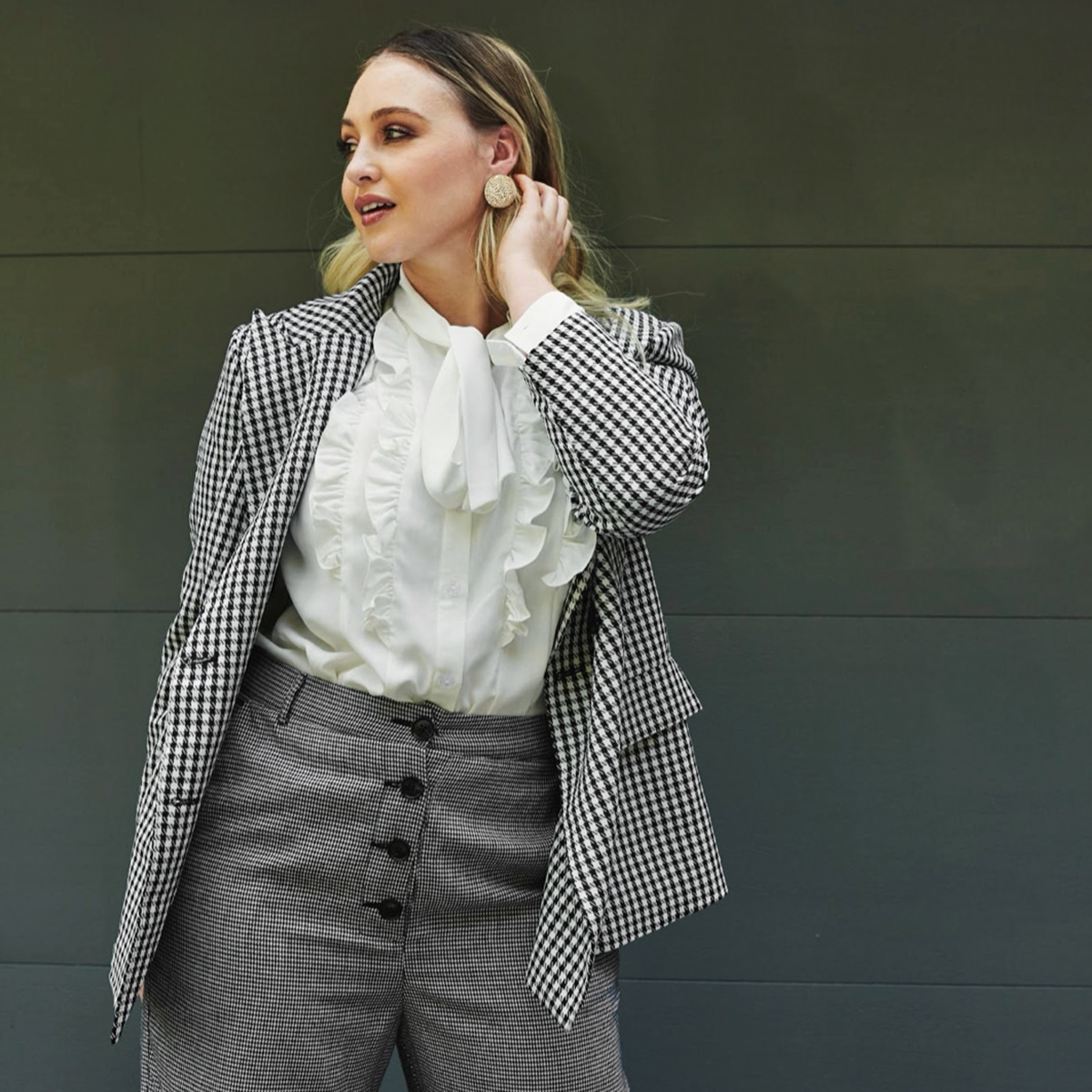 shein Zwart & wit Casual Houndstooth Grote maat: blazer Dubbele knoop