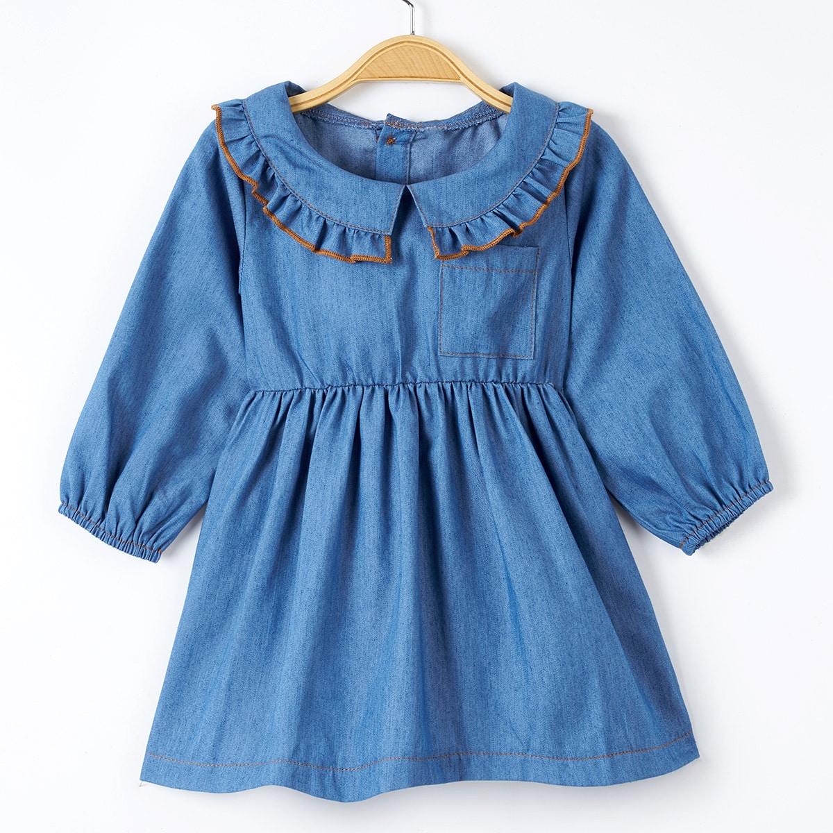 Джинсовое платье с карманом и пуговицами для девочек от SHEIN