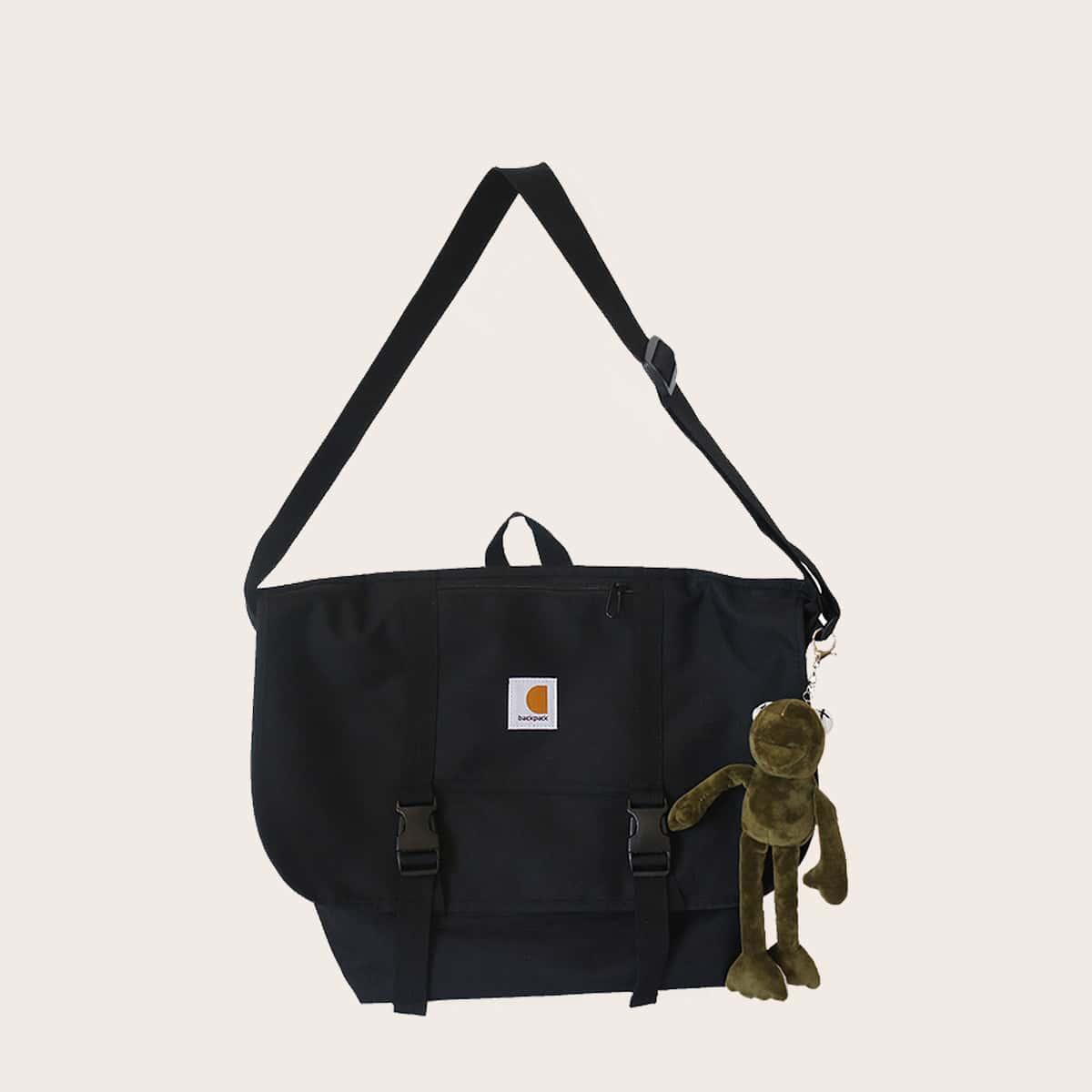 shein Mannen messenger bag met gesp en tas charme