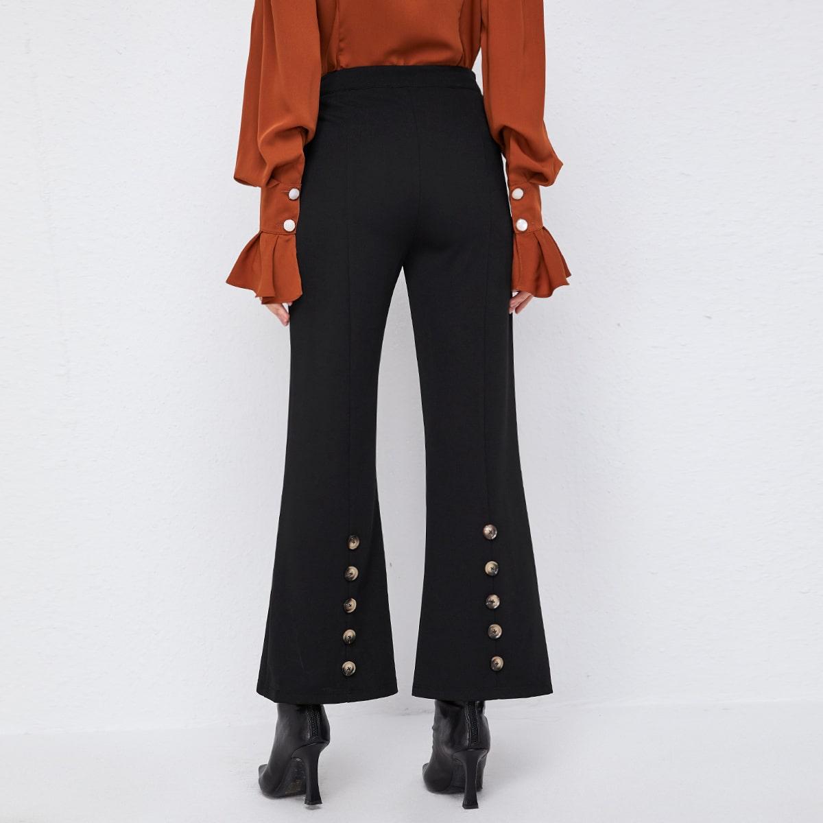 Pantalones de pierna amplia bajo con botón