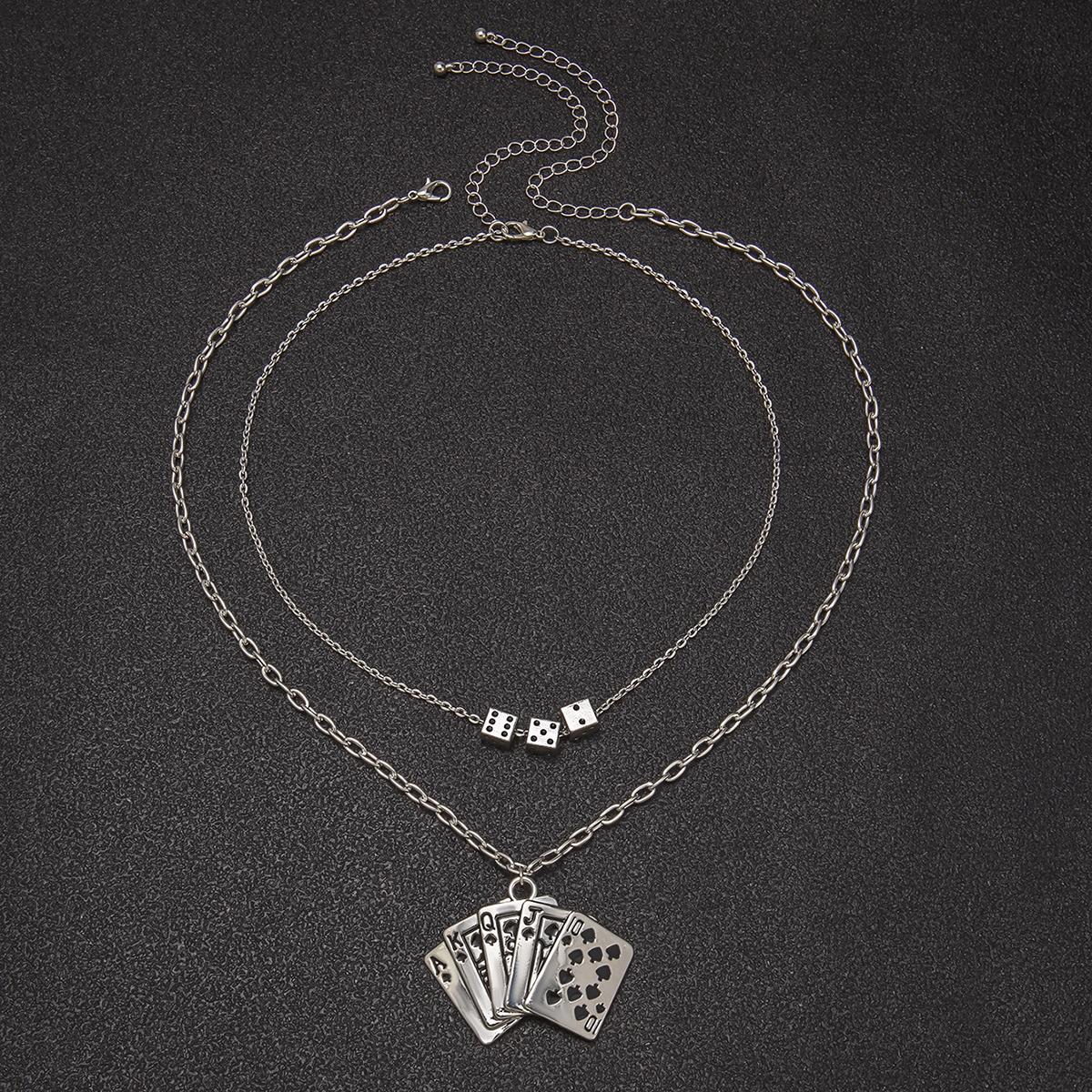 Мужское металлическое ожерелье с геометрической подвеской 2шт от SHEIN