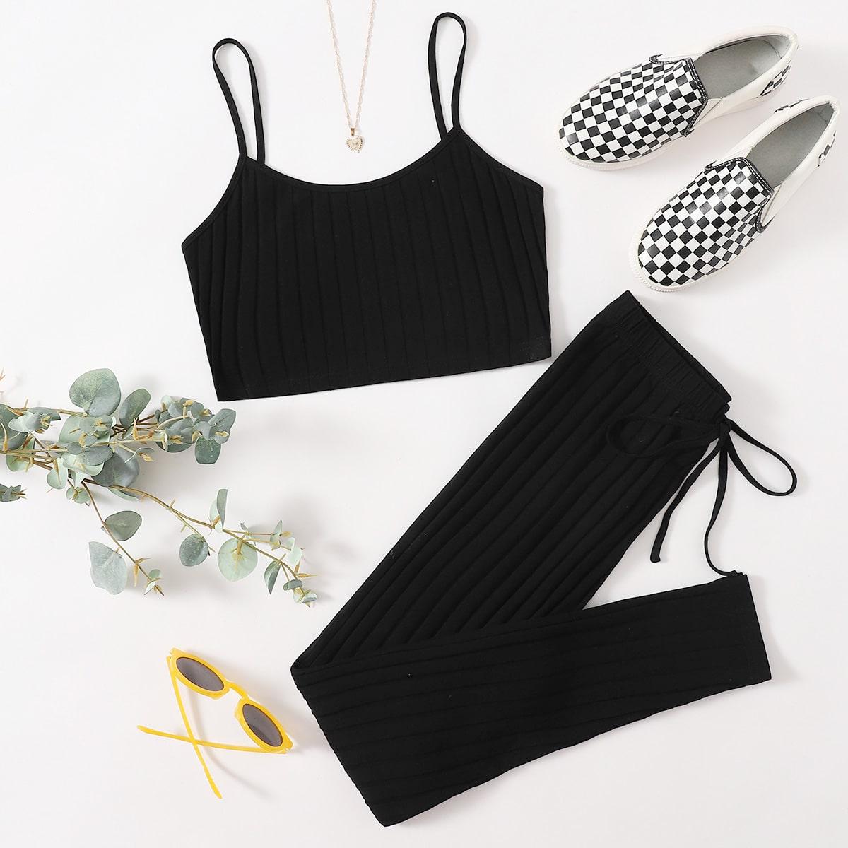 SHEIN / Rib-knit Cami & Knot Front Leggings Set